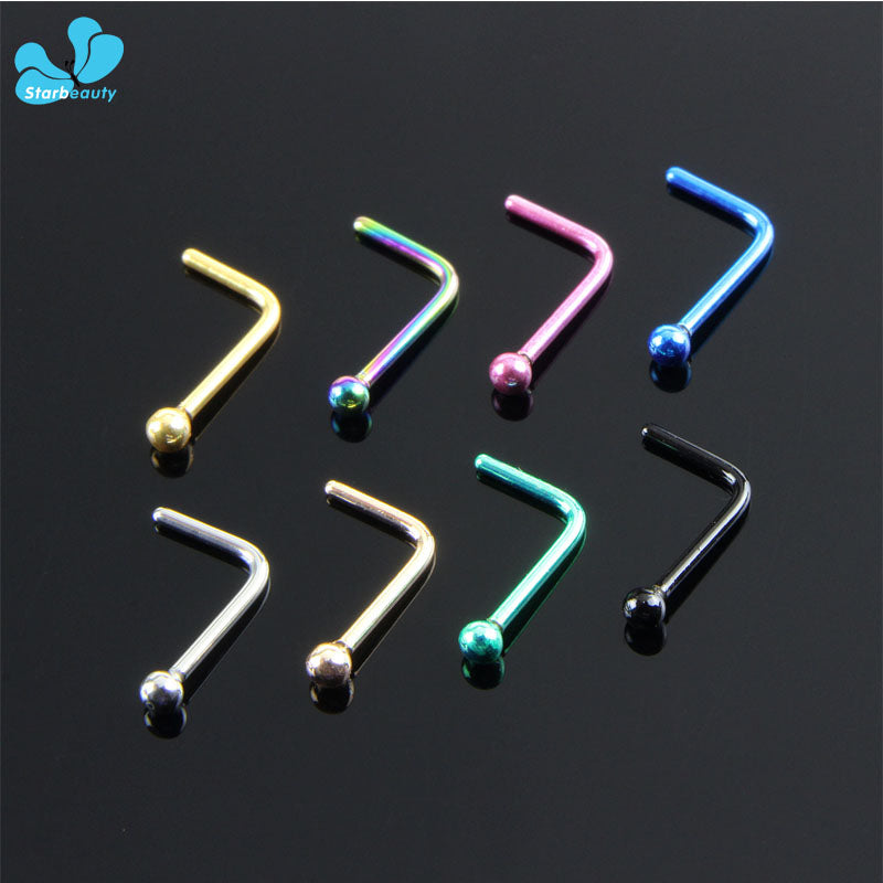 New Arrival Simple L Shape Surgical Steel 0.8*8mm Nose Studs Hooks Bar