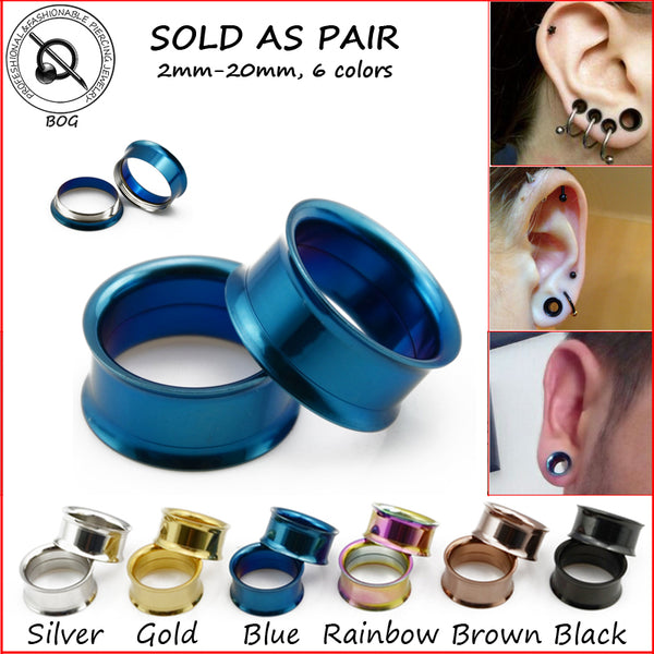 BOG-PAIR 316L STEEL Titanium Anodized INTERNAL THREAD Screw On Ear Hollow Tunnels Plugs Expander Strecher Body Piercing Jewelry