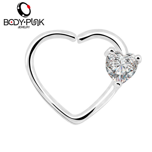 BODY PUNK Jewelry Heart CZ Left Closure Daith Cartilage 16 Gauge Heart