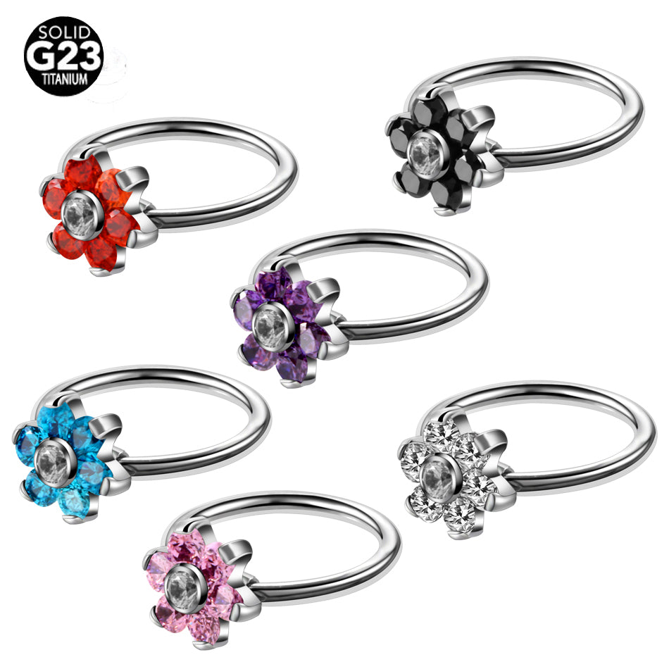 1PC G23 Titanium Flower Gem Nose Rings Ear Cartilage Rings Captive