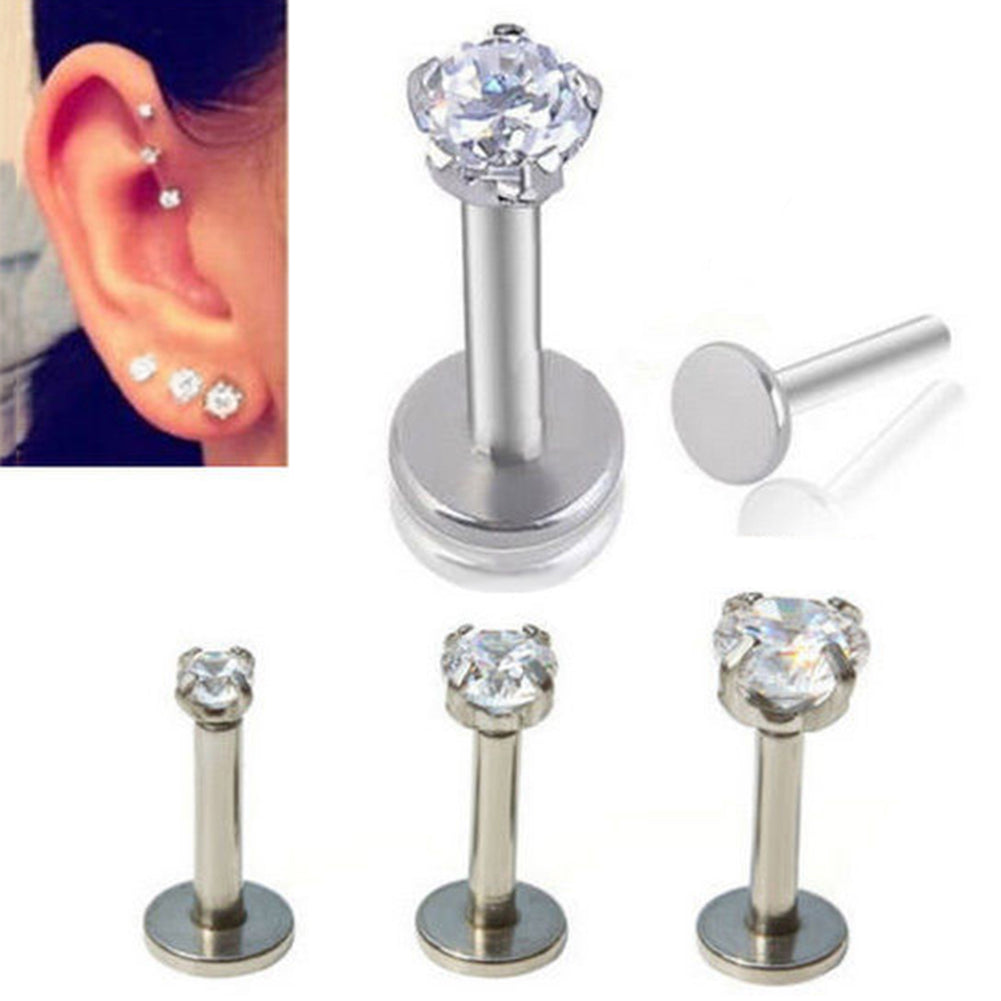 1Pc 16G Unisex Shiny Rhinestone Lip Nose Stud Earring Piercing Jewelry