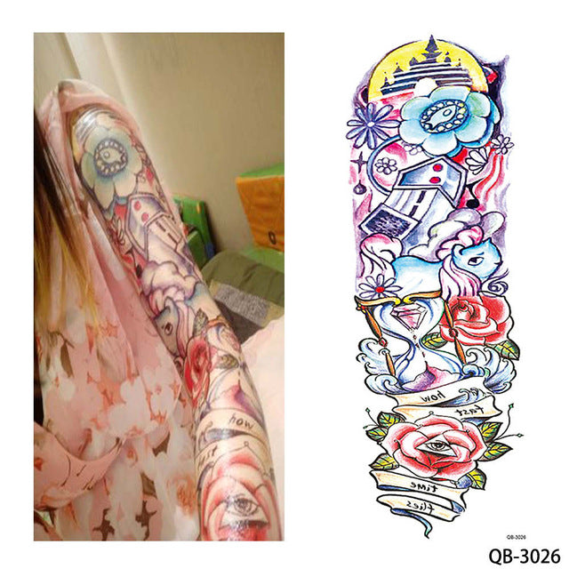 1 Piece Temporary Tattoo Sticker Nun Girl Pray Design Full Flower