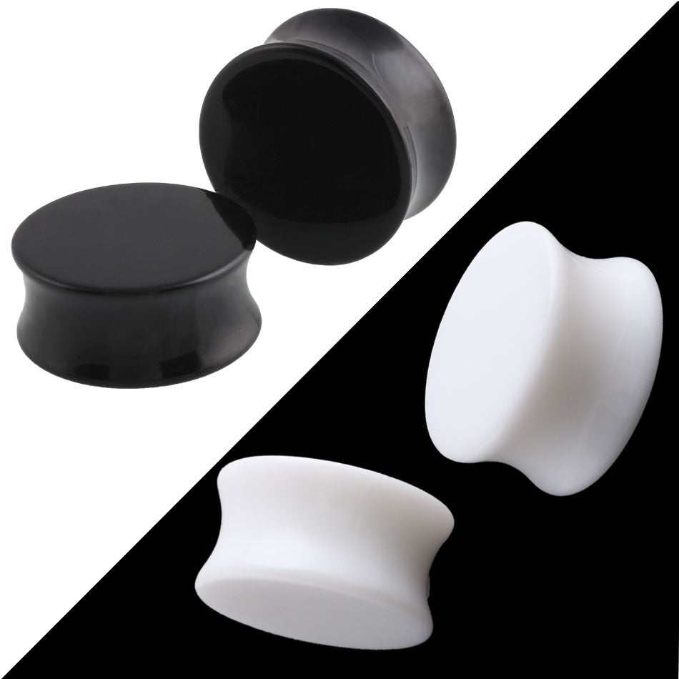 1Pc  Punk Acrylic  Ear Plugs Tunnel 3-30mm Black White Organic