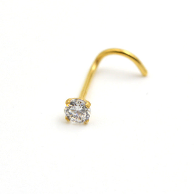 1 Piece AA Zircon 2.5mm Gem Nose Stud Piercing Surgical Steel S