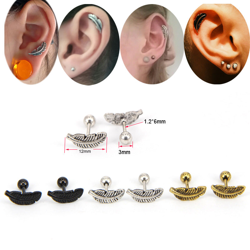 1 Pair 1.2*6mm Feather Ear Cartilage Piercing Tragus Helix Studs