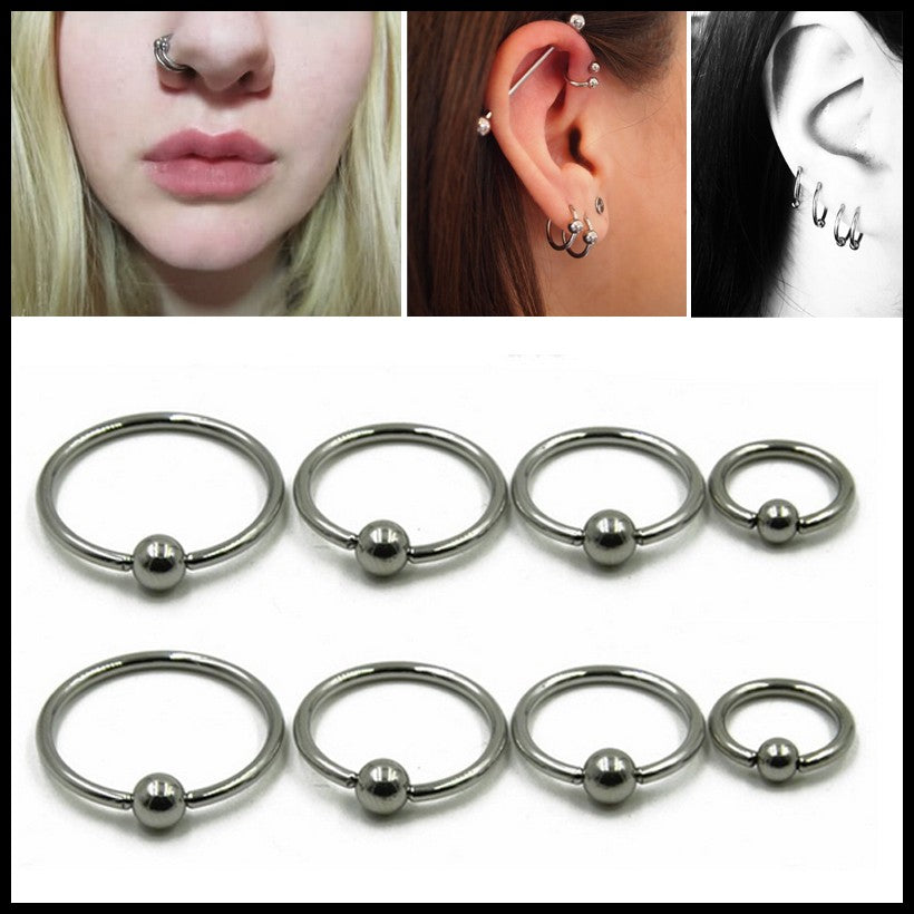 1PC 316l Surgical Steel Captive Bead Ring Nose Septum Hoop Ear