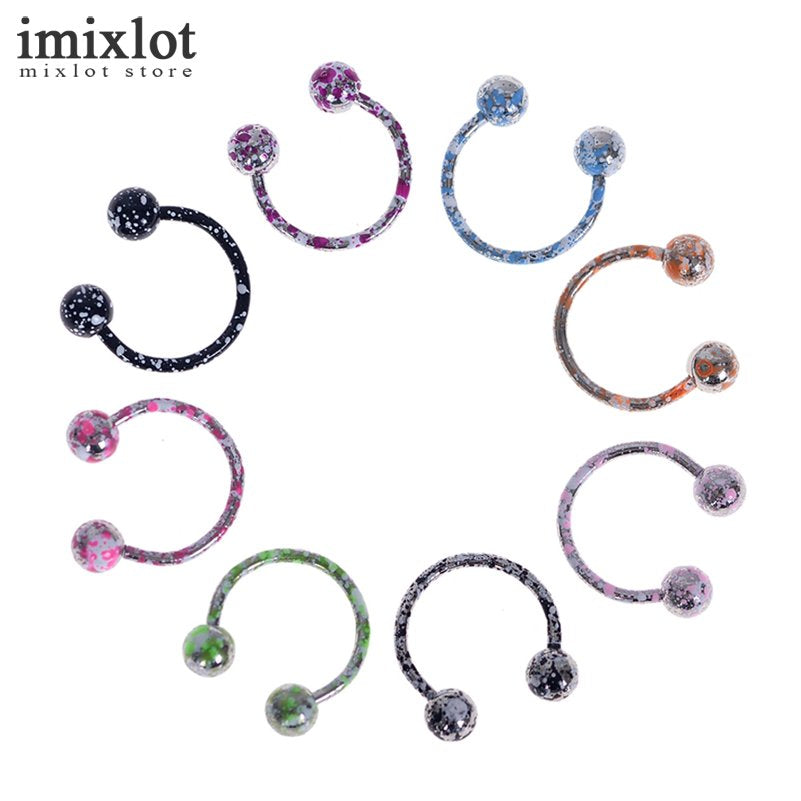 8pcs/lot Mix Color Body Jewelry Piercing Nose Ring Ball Horseshoe