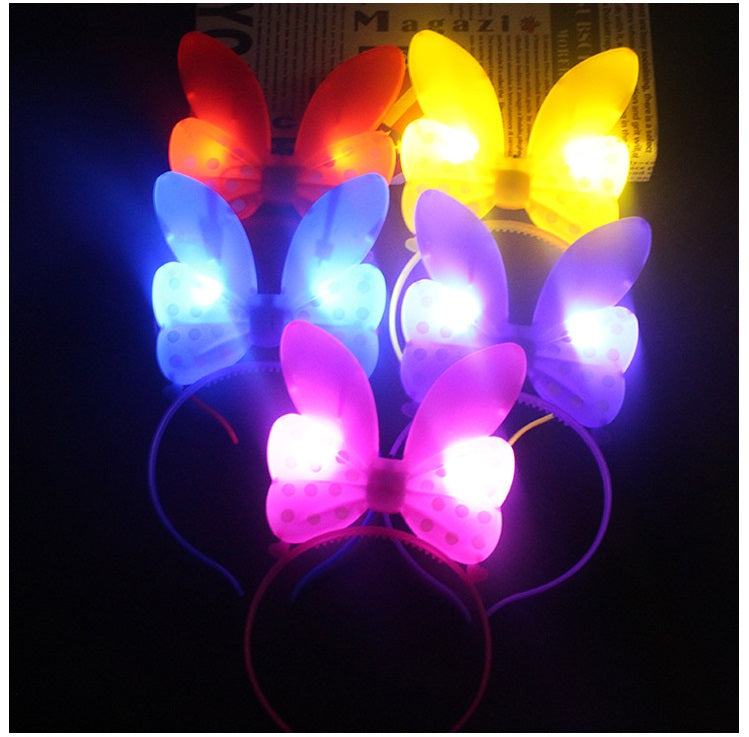 10pcs/lot Glowing Playboy Bunny Girl Light-up Headband Kids Birthday