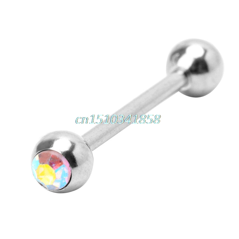 12Pcs Multicolor Tongue Piercing Surgical Steel Barbell Ring Jewelry