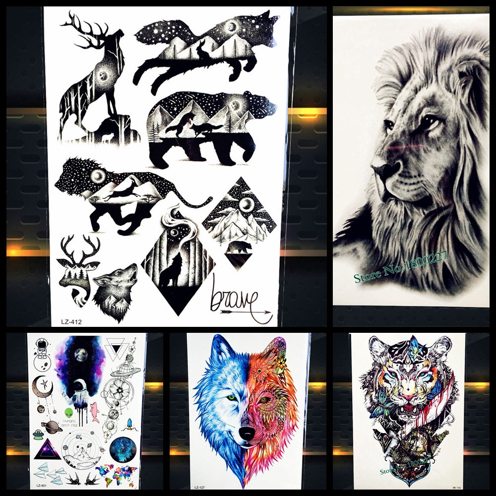 Cool Bear Beast King Waterproof Temporary Tattoo Indian Lion Warrior Tatto Sticker Hb577