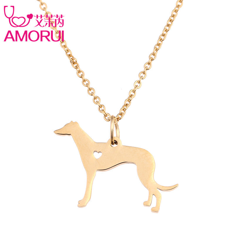 30pcs/Lot Gold/Silver Greyhound Dog Heart Pendant Chain Collier
