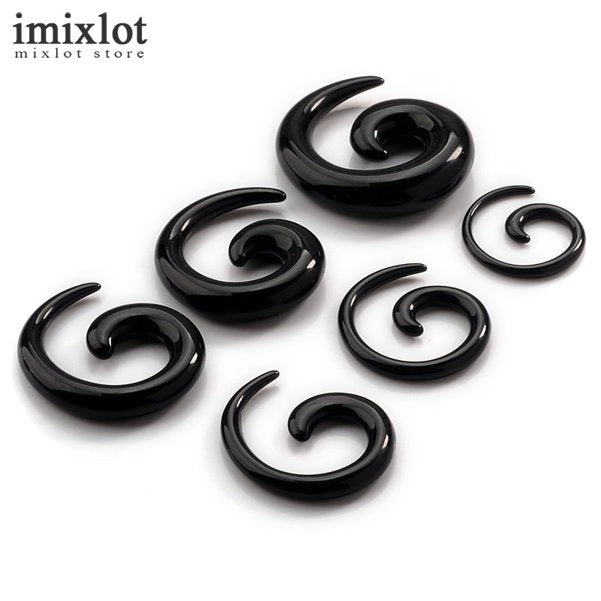 12pcs/set Gauge Acrylic Ear Plugs Ear Expander Solid Swirl Spiral