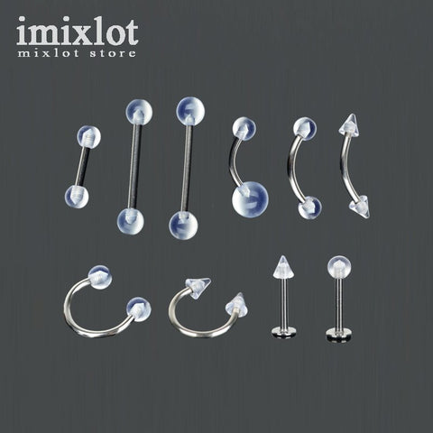 Imixlot 5Pcs/Lot Stainless Steel Tongue Barbell Ring Acrylic Labret