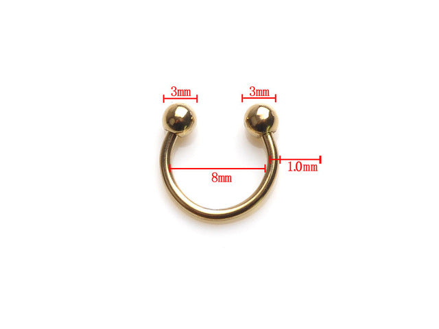 5PCS Gold Stainless Steel Sexy Eyebrow Nose Lip Ear Ring Tragus