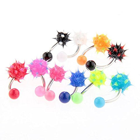 10 Pcs Body Jewelry Piercing Eyebrow Navel Belly Tongue Lip Bar Ring