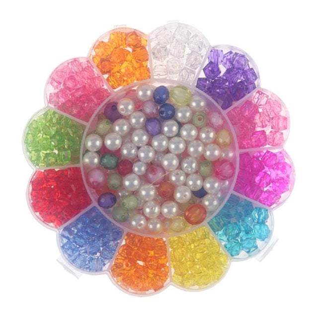 350pcs Mixed Color Girls DIY Beads Bracelet Toys Set Jewelry Chain