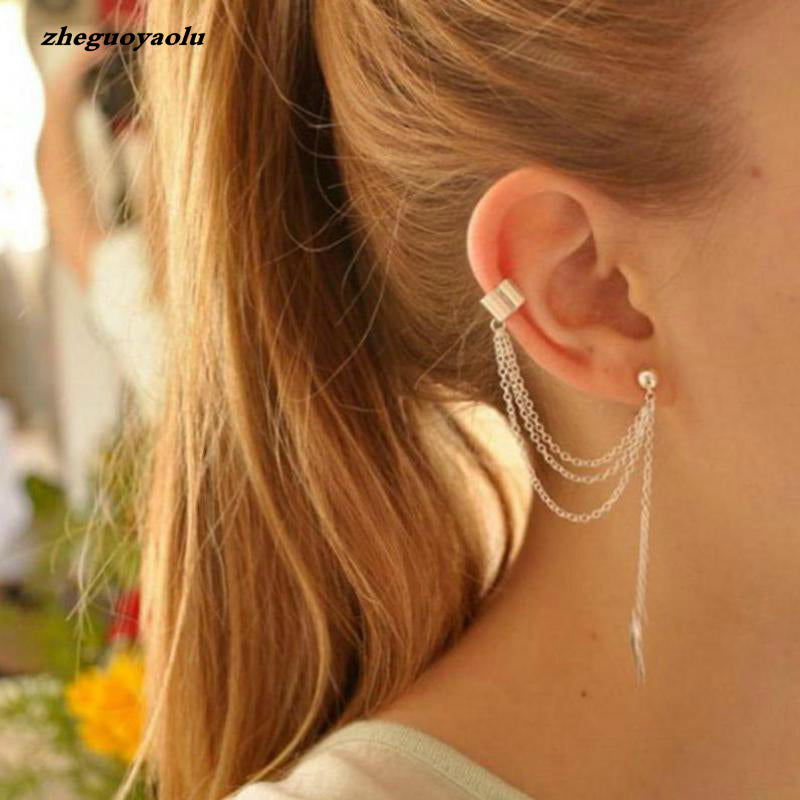 1piece Punk Rock Style Woman Young Gift Leaf Chain Tassel Earrings,