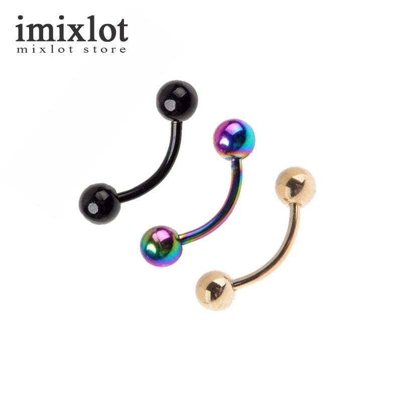 1PC 1.0*8*3mm 18G Titanium Anodized Stainless Steel Curved Barbell