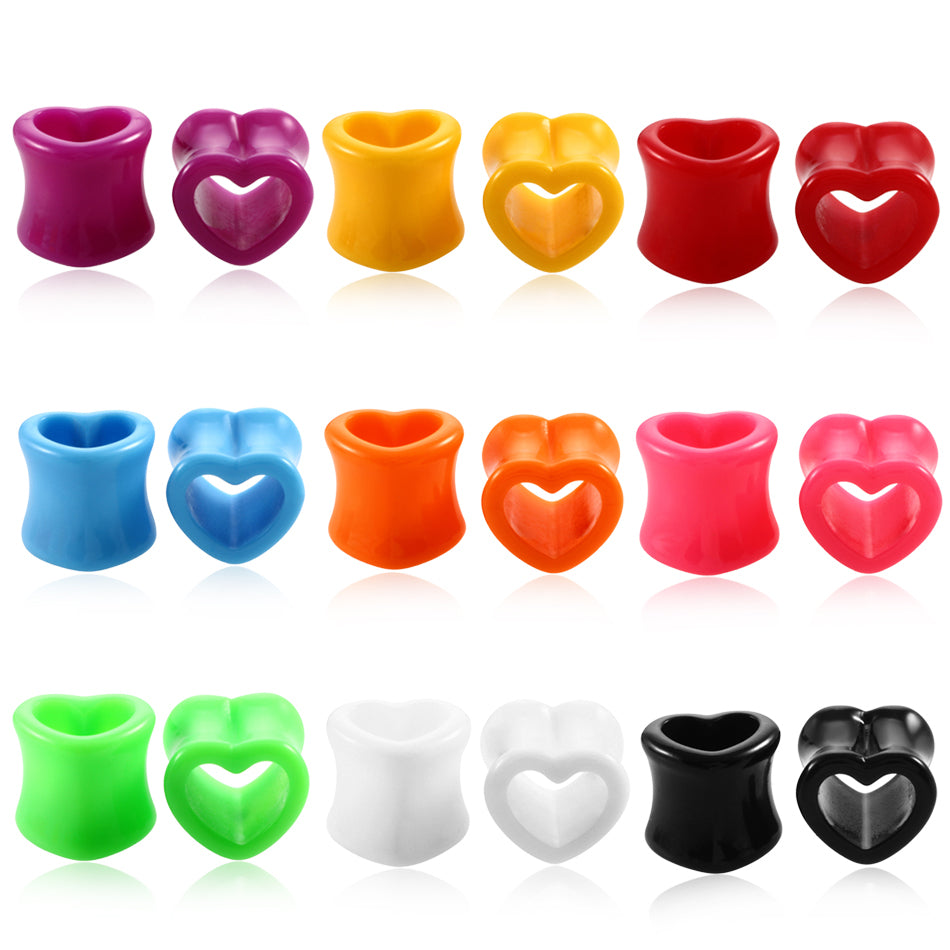 Pair Acrylic Heart Hollow Ear Tunnels Flesh Expander Gauges Plugs