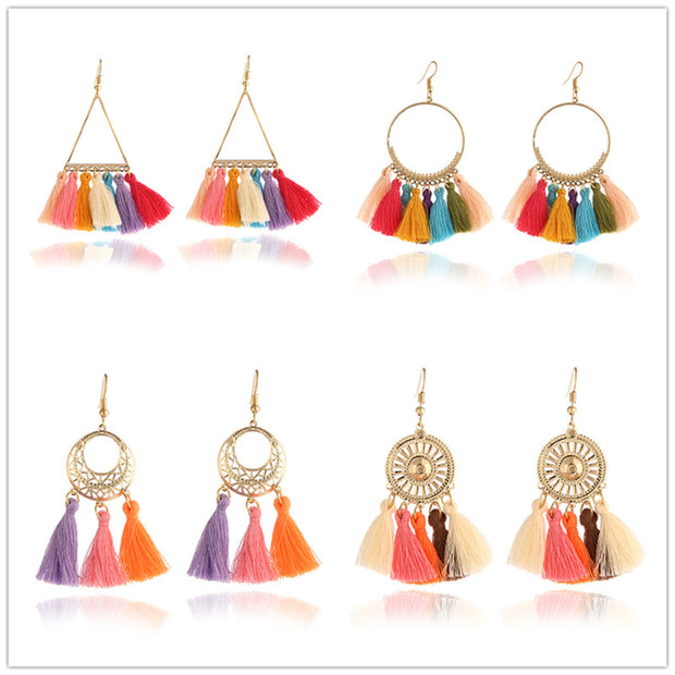 Fashion Women Statement Tassel Earrings Bohemian Multicolored ethnic