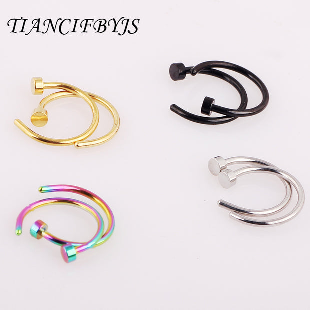 2pcs Body Ring Fake Piercing Jewelry 7 Colors Women Nostril Nose