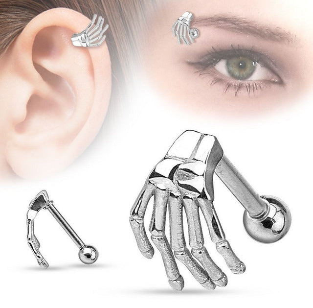 1 Piece Fashion Tragus Ear Eyebrow Piercing Jewelry Hand 316L