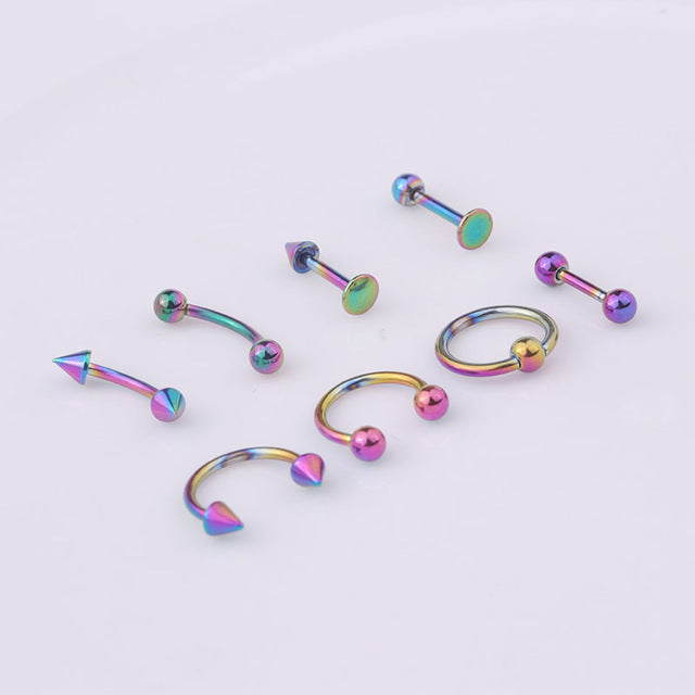 Sellsets Mixed 8pcs/lot 16G Titanium Anodized Stainless Steel Body