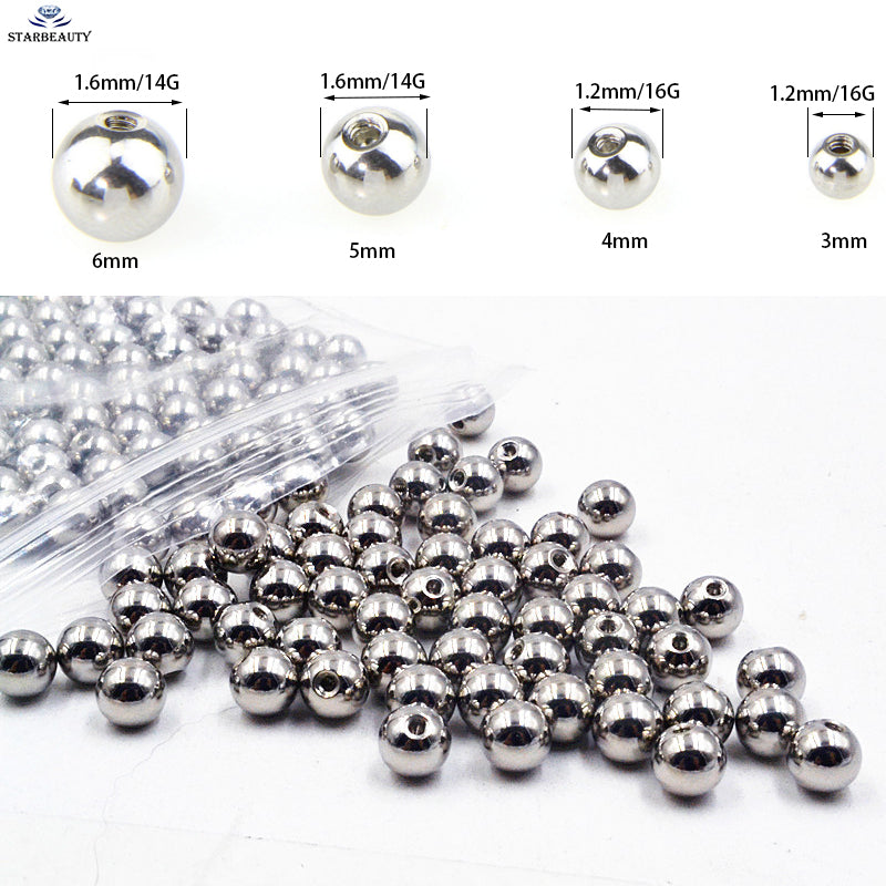 10Pcs/Lot Silver Titanium Plating Stainless Steel Ball Screw On Lip