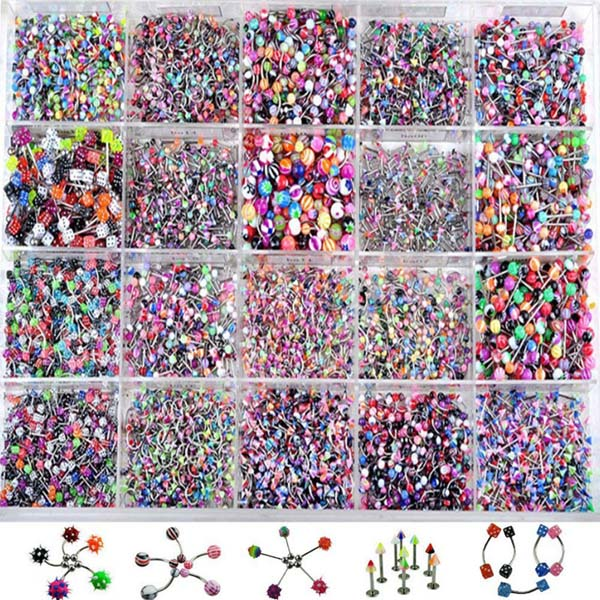 110 Pcs Acrylic Stainless Steel Mix Eyebrow Belly Lip Tongue Bar Rings