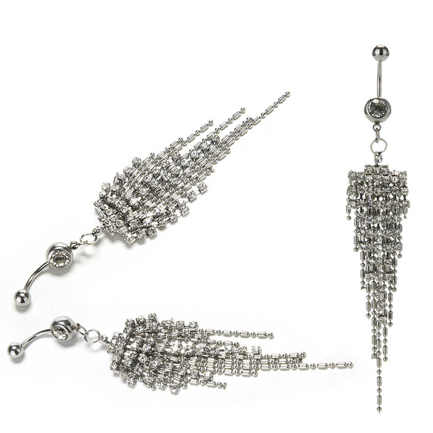 New Tassel Navel Piercing Crystal Rhinestone Dangle Belly Button