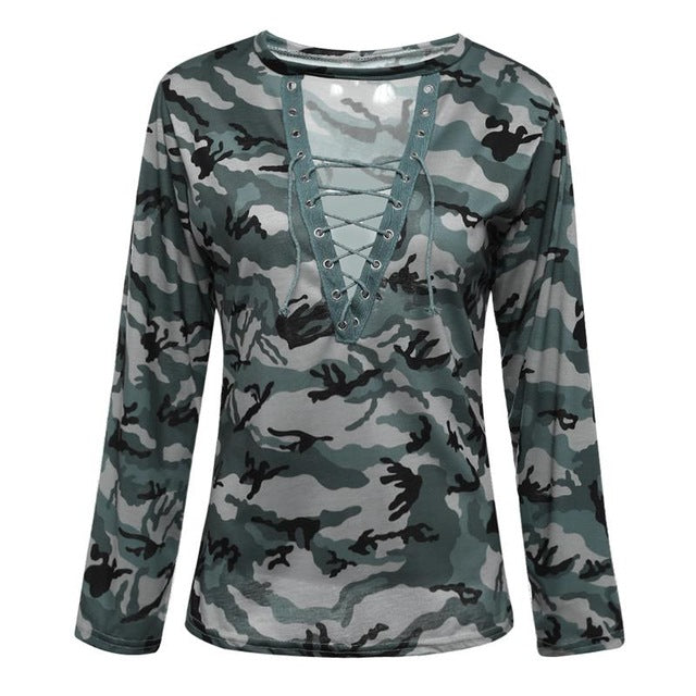 2018 Women Sexy T-shirt Camouflage V Neck Lace Up Tshirt Feminino