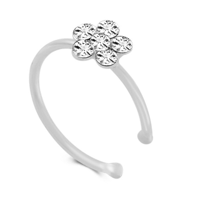 1 piece Punk Style Plum Blossom Nose Ring Crystals Flower charm Stud