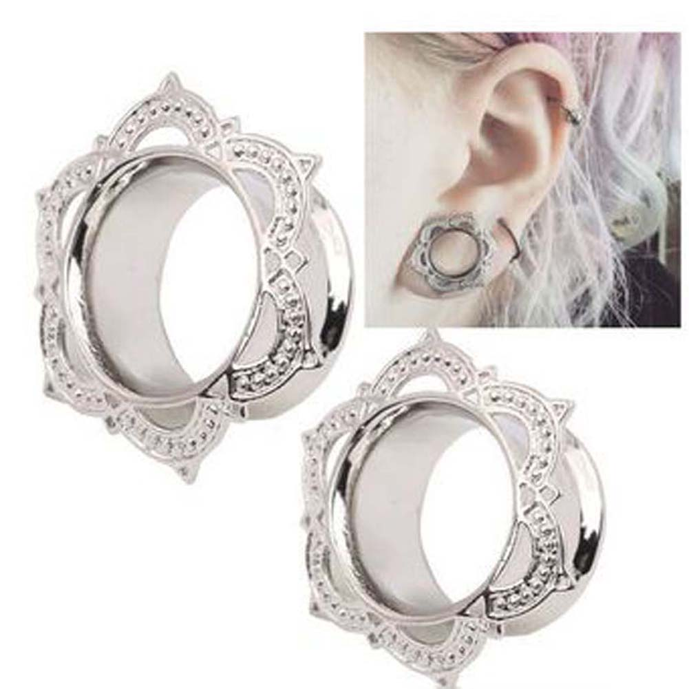 1 Piece New Women Men Flower Flared Flesh Tunnel Ear Plugs Copper