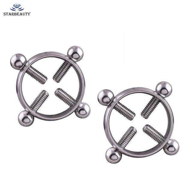1Pair Titanium Round Non-Piercing Nipple Ring Shield body piercing