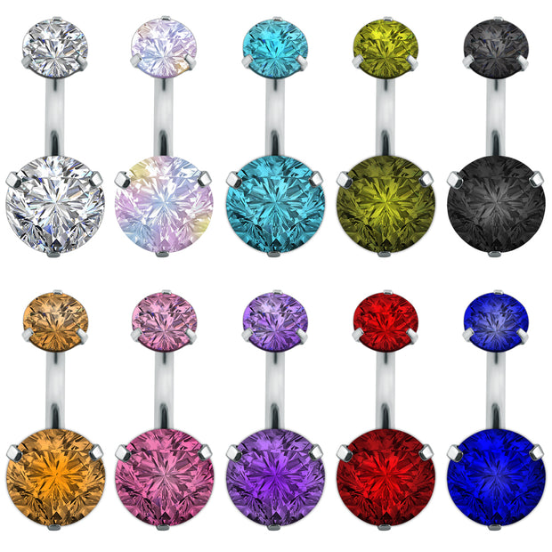 Women Belly Button Rings Body Piercing Jewelry Double Round Crystal