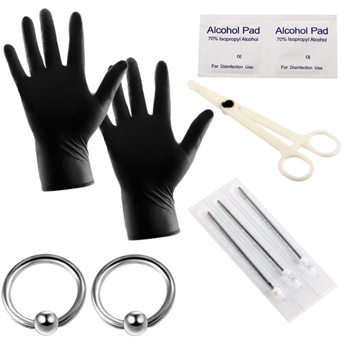 10pcs/lot Pro Body Piercing Kits Puncture with Ear Nose Eyebrow Sets