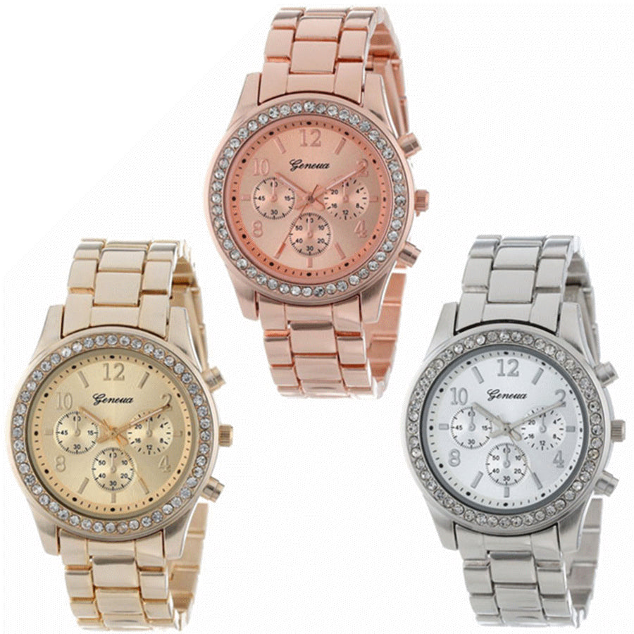 2017 Fashion Dress Watches Women Men Faux Chronograph Quartz Plated