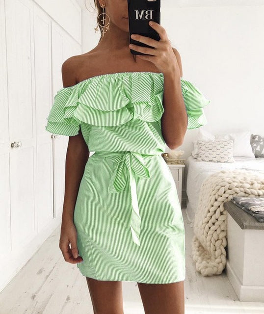 4 colour 2017 Summer Fashion Women's New Striped Dresses Sexy Ruffle