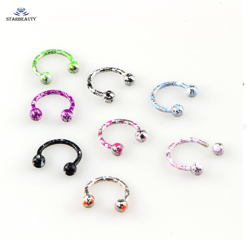2Pcs Mix Color 316L Earring Internal Piercing Septo Nose Lip Eyebrow