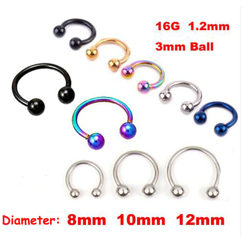 2 Pcs * 4 Color Surgical Stainless Steel Circular Barbells Horseshoe