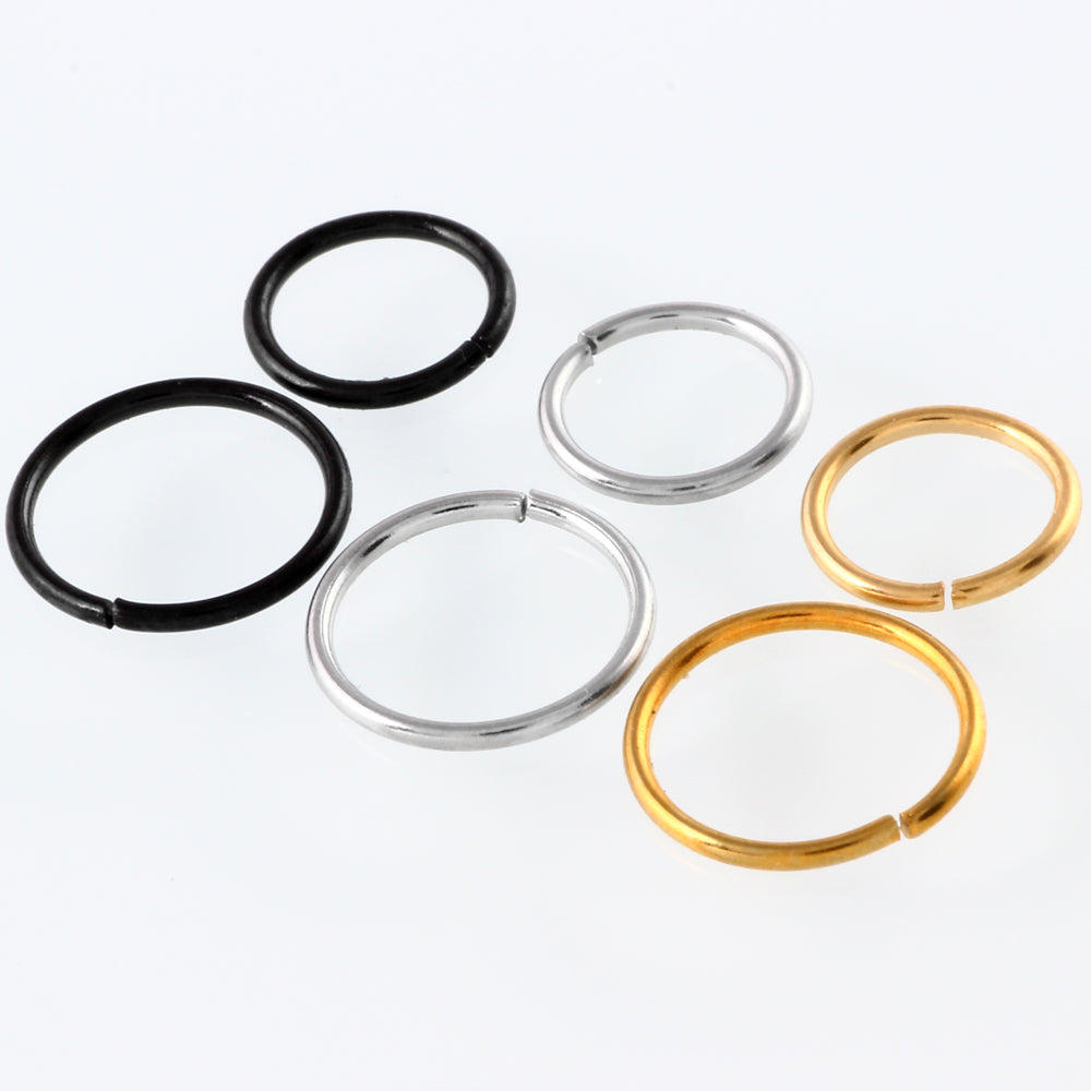 1Pc  Captive Ring Surgical Steel  Bead  Circular Piercing BCR Nose