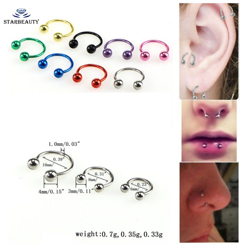 2Pcs Surgical Piercing 8 different Colors Nose Ring Ball Horseshoe