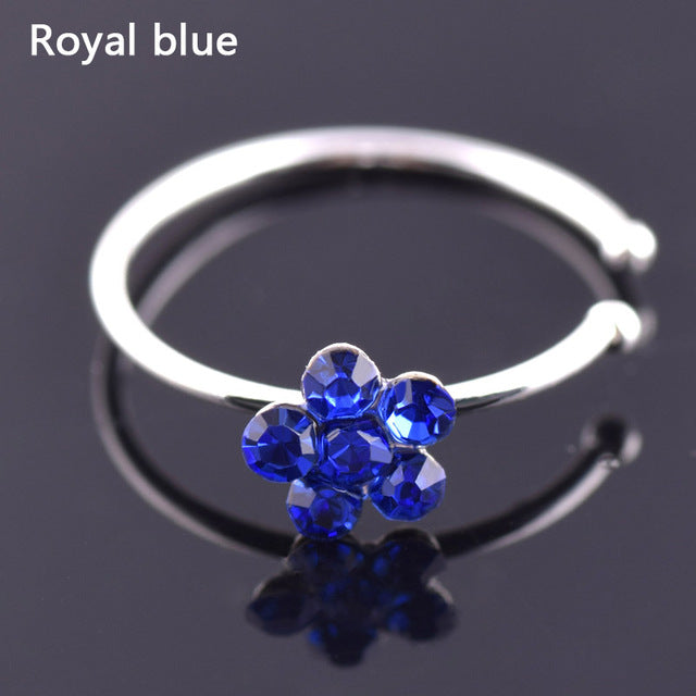 Sale 1PC Hot Women Fashion Jewelry Ring Crystal Flowers Charm Nose