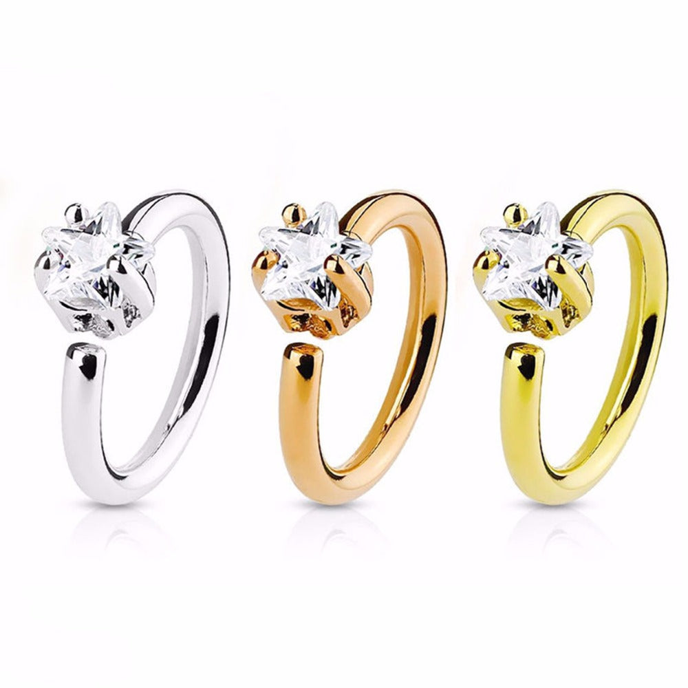 1Pcs Fashion Stainless Steel Nose Hoop Ring Shellhard Small Thin