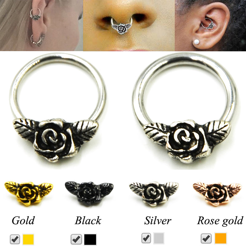 Showlove-1pcs 16g/114G Rose Flower Stepum Nose Clicker Hoop Rings