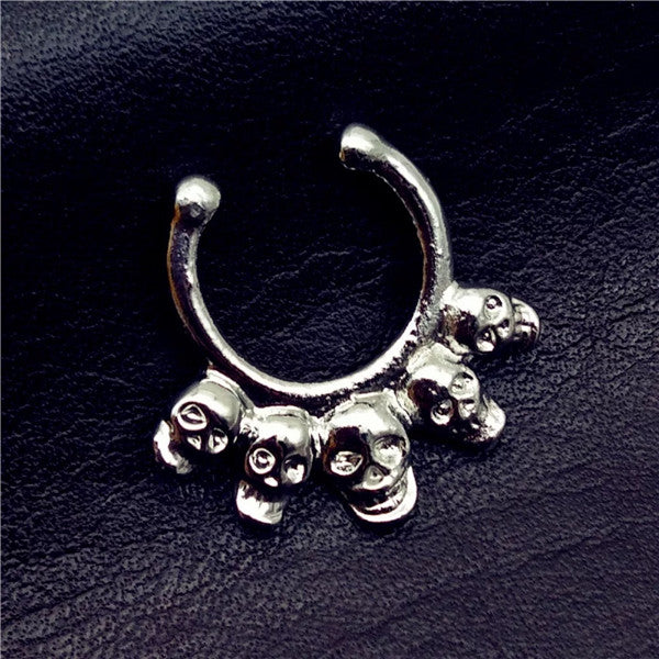 Punk Stainless Steel Gold Nose Rings Studs Fake Septum Piercing Five