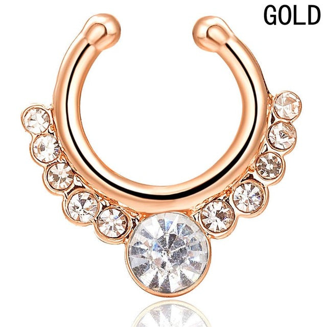 1 pc Fashion Rhinestone Nose Ring Hoop For Women Clip Body Jewelry