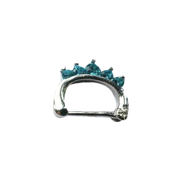 1 piece Surgical Steel Titanium Crystal Nose Ring septum Clicker
