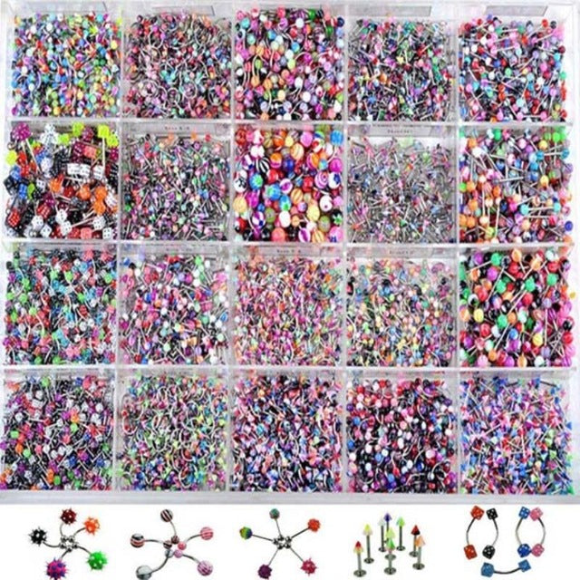 110Pcs Trendy Tongue Eyebrow Belly Nose Ring Wholesale Shellhard Mix