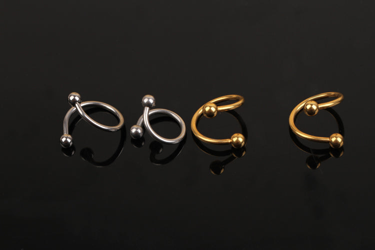 1 Piece  Nose Unique Design Stainless Steel Twist Nose Lip Ring Nose